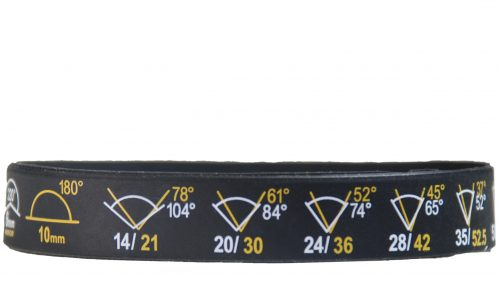Black wristband with camera angle marks in white and gold