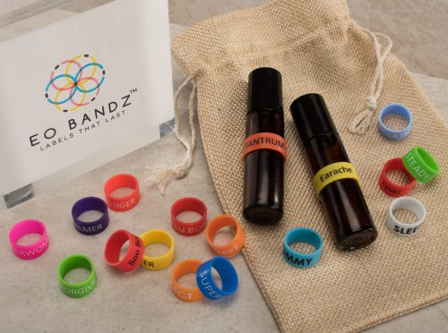 EO Bandz essential oil bands with box and bottles