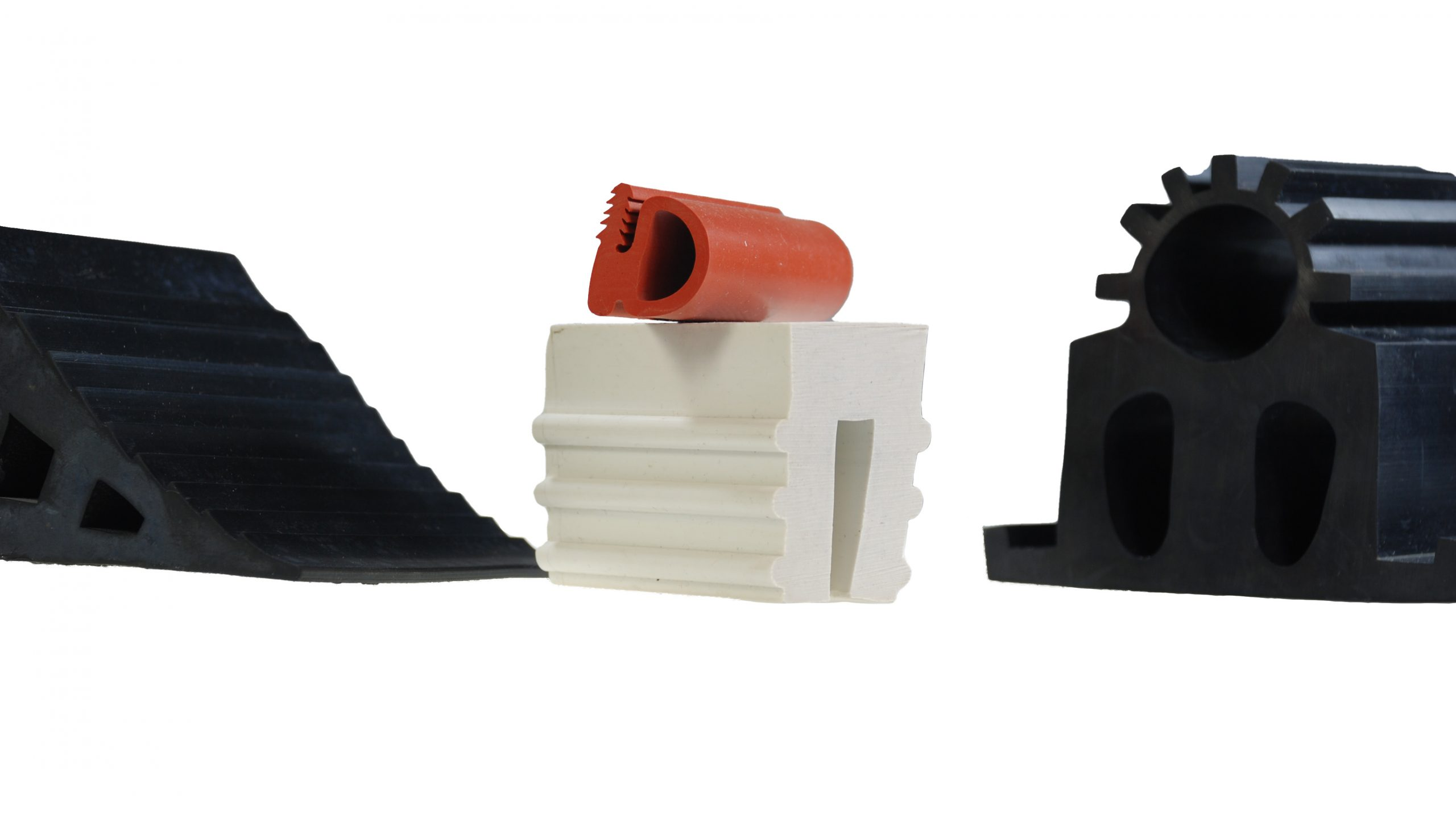 four custom rubber extrusions
