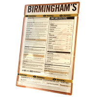 Beige menu for Birmingham's restaurant. The menu is laminated and bound to a wooden board by one silicone band at the top of the menu and another silicone band at the bottom of the menu. The silicone bands are gold and imprinted with the restaurant logo