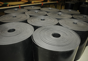 Rolls of rubber sheet