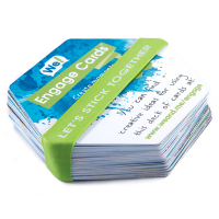"""Stack of blue, green, and white hexagonal cards bound together with green silicone band. The silicone band reads """"let's stick together"""" in white capital printed letters."""