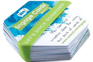 Promostretch printed rubber bands holding stack of cards